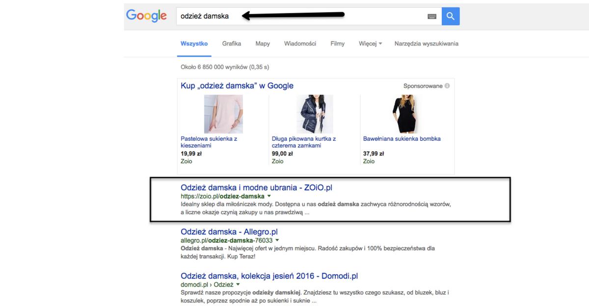 Wypozycjonowany sklep w Google