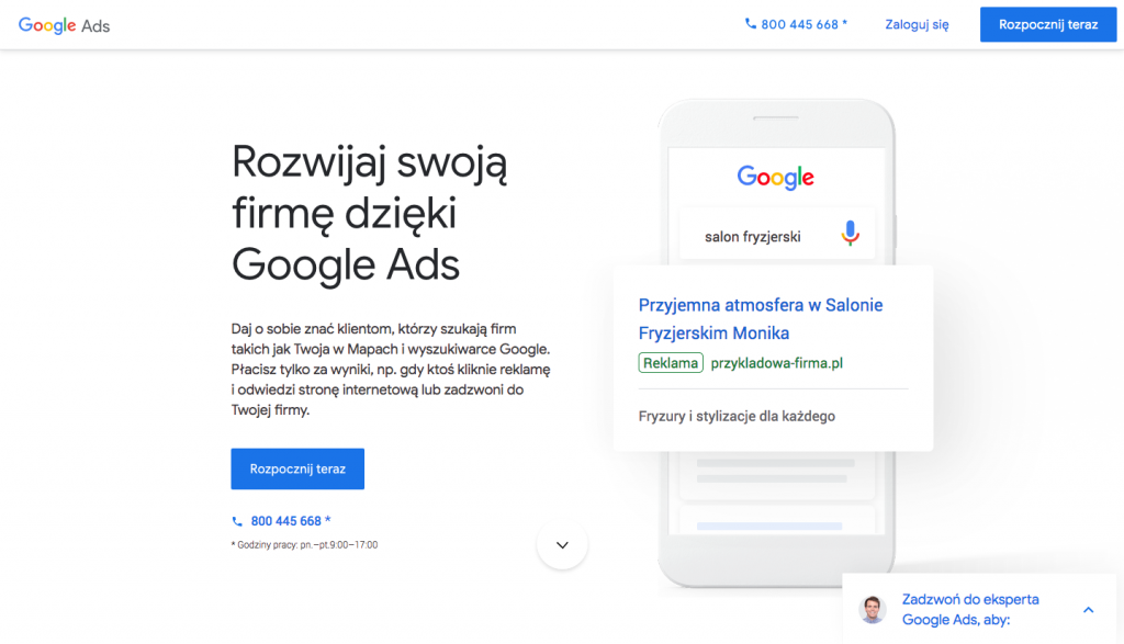 Konto Google Ads - logowanie